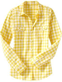 Women 39 s lightweight camp shirts old navy my style for Mens yellow gingham shirt