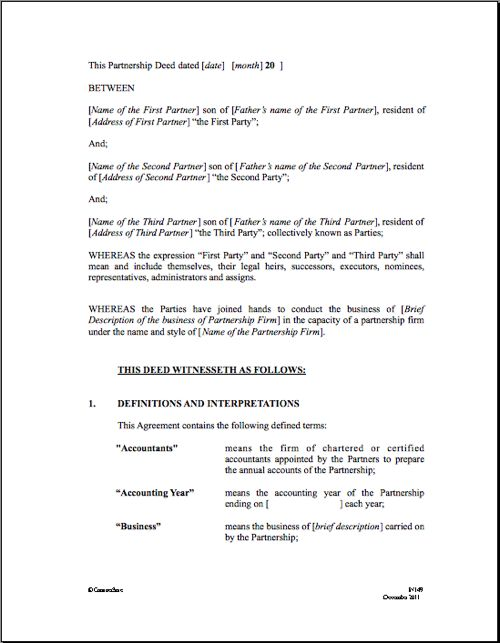 Partnership Agreement Real Estate Forms Legal Forms - real estate partnership agreement