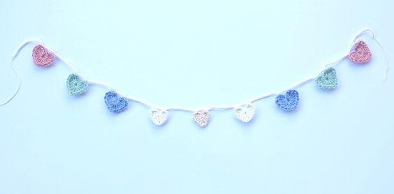Pastel Love Heart Garland  100% Wool (Pale Green), 100% Cotton (all other colours). Crochet heart garland.