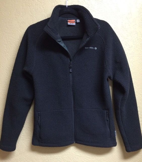 Merrell Mens Fleece Jacket Size S Small - BLACK - ZIP FRONT ...