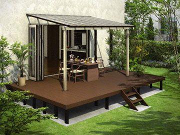 お庭でゆっくり過ごせる快適ガーデンスペースセット リウッドデッキ200 ソラリア お庭 ウッドデッキ 庭