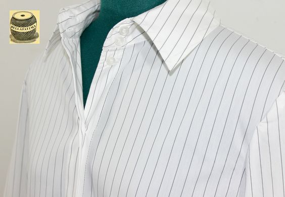 On Sale White Cotton Button Down Pinstripe Blouse with collar. By Esprit. pict 2