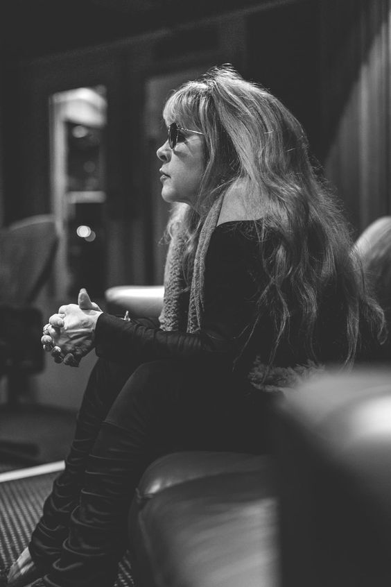 """Stevie Nicks in a Nashville recording studio recording """"Southern Accents,"""" her duet with Charles Kelley. Photo by Philip Macias."""