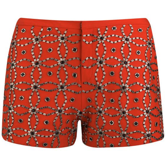 AnhHa Women's Embellished Mini Shorts (£170) ❤ liked on Polyvore featuring shorts, bottoms, pants, short, orange, orange short shorts, patterned shorts, zipper shorts, hot shorts and short shorts