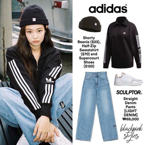 """블랙핑크 패션 / BLACKPINK'S OUTFITS on Instagram: """"191028 - [#JENNIE] jennierubyjane IG update & Blackpink for Adidas ✨ ー  브랜드: #adidas  아이템: Shorty Beanie, Half-Zip Sweatshirt & Supercourt…"""""""