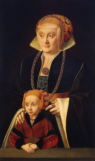 Portrait of a Lady and Her Daughter by Bruyn the Elder.  Circa early 1530's.: