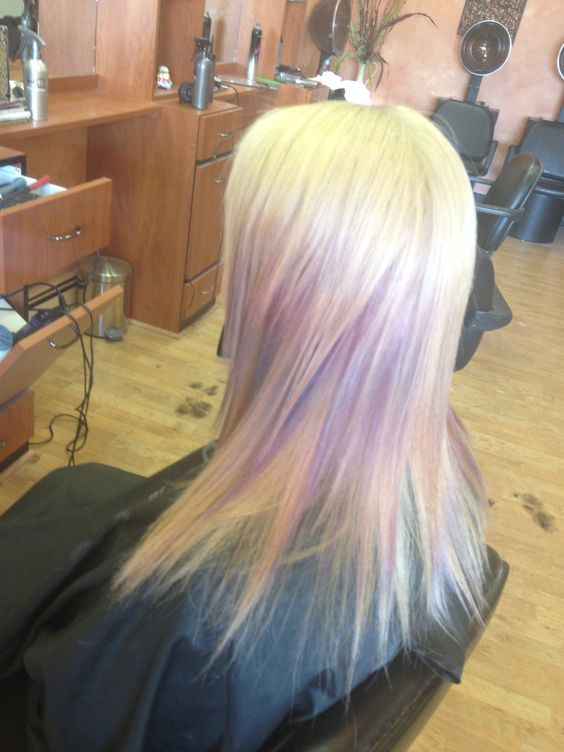 Root touch up with purple foils added throughout. Vibrant purple mixed with icy white to get lavender color