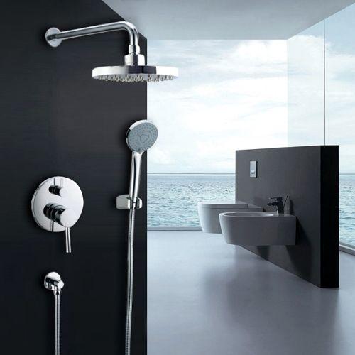Brewst Wall Mounted Rain Shower Head Handshower Set In Polished Chrome Valve Included Bathroom Shower Design Shower Systems Rain Shower System