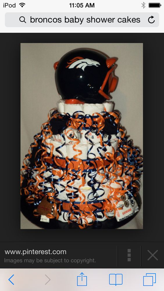 It's a broncos baby shower diaper cake