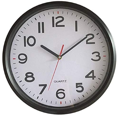Vmarketingsite 10 Inch Wall Clock Battery Operated Silent Non Ticking Decorative Modern Round Quartz Black Analog Classroom Hanging Clocks Large Numbers O Med