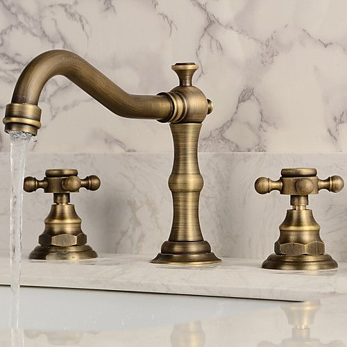 Widespread Bathroom Sink Faucet Antique Copper Vintage Design Two Handles Three Holesbath Taps 2020 Us 87 49 Sink Faucets Antique Brass Bathroom Faucet Bathroom Sink Faucets