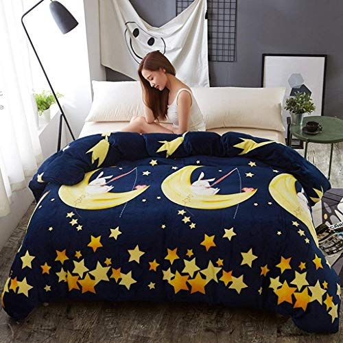 Cotton Duvet Cover Set Blue Yellow Star Cartoon Pattern Quilt Cover Single Piece Autumn And Winter Thicker Stud Duvet Cover Sets Cotton Duvet Cover Quilt Cover