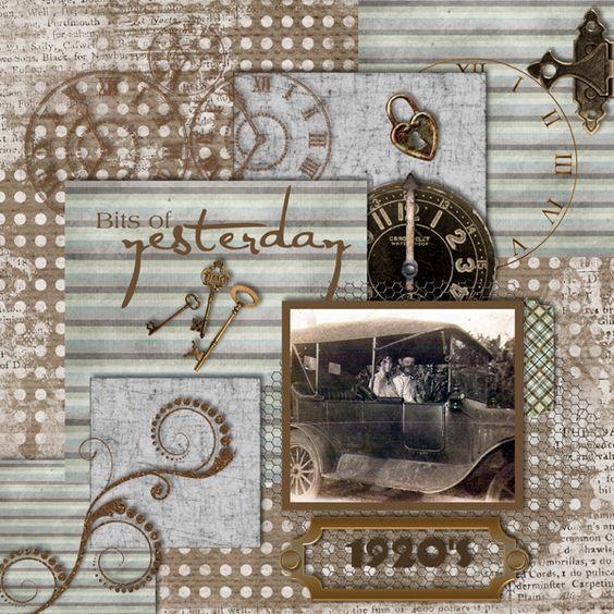 Vintage Photo - Scrapbook.com: Layouts Vintage, Vintage Photos, Vintage Layouts, Digital Scrapbooking, 1 3 Photos, Scrapbooking Layouts