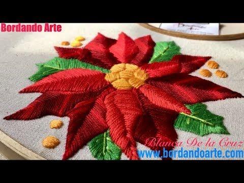 Flor De Nochebuena Bordada A Mano Paso A Paso Youtube Flor De