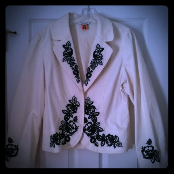 White House Black Market Jackets & Coats - Cream jacket with black detail