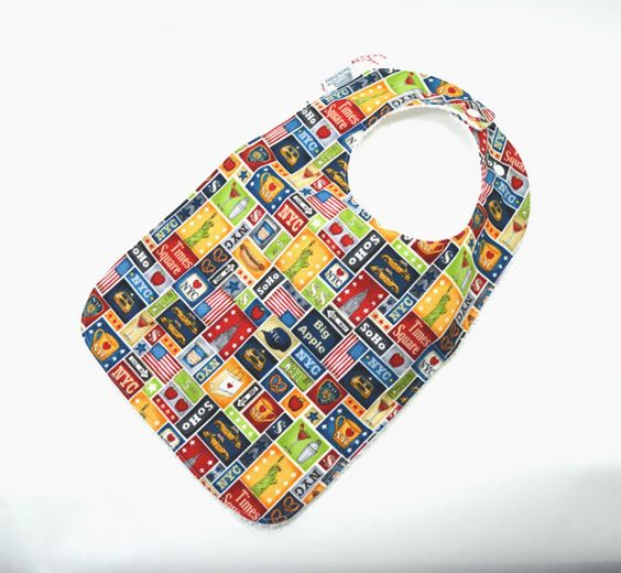 Toddler Bib 10x 17 / 1yr3 yrs / NYC Toddler Bib by TextileTrolley, $12.00