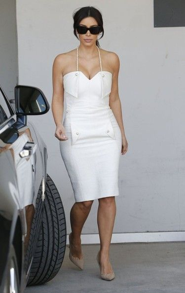 Kim Kardashian - White Dress &amp Nude Pumps  style  Pinterest