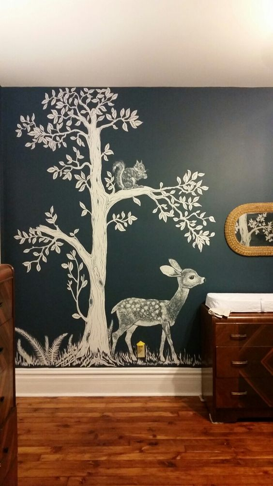Woodland nursery hand painted woodland nursery mural for Aithihya mural painting fabrics