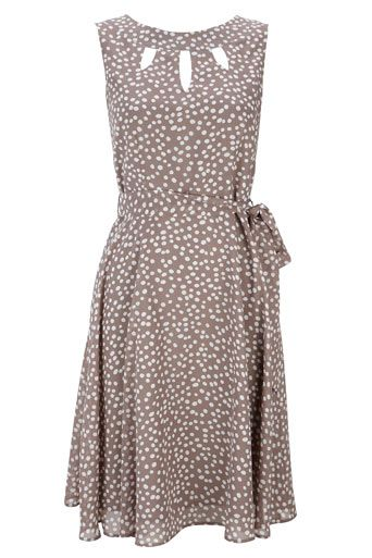 Taupe Spot Print Keyhole Dress
