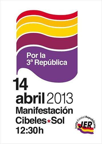 14 de Abril: Manifestación por la III República.  Información: http://www.publico.es/453620/mas-motivos-que-nunca-para-la-iii-republica  Síguenos en Facebook: http://facebook.com/HumorDePandereta