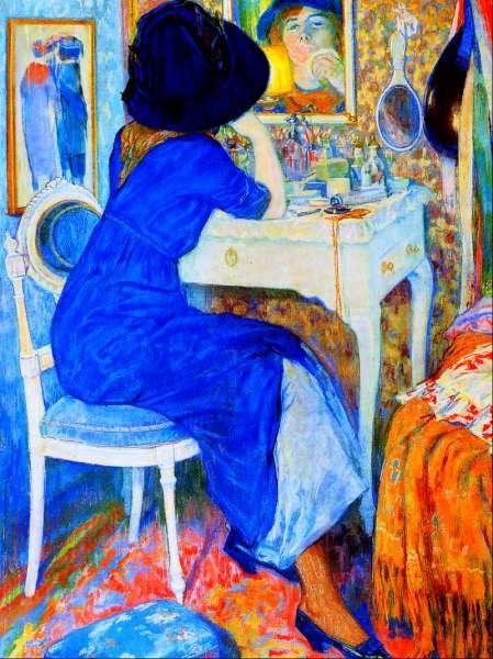 Woman at Makeup Table (auch als Lisette in Toilette bekannt), 1911 von Leo Gestel (1881-1941, Netherlands)