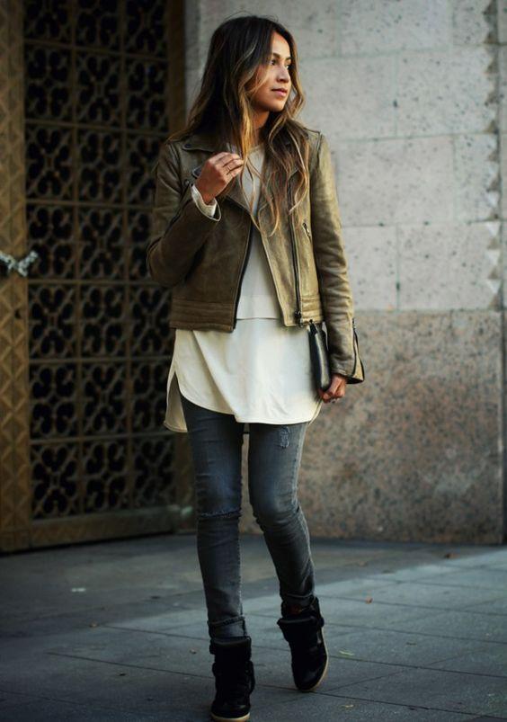 Herbst Mode 2014 2015 kurze Hose Langmantel Leder
