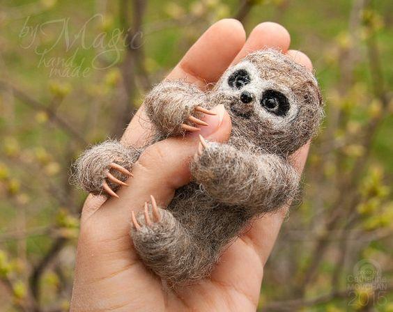 Felted sloth felt animal needle felted creature wool von byMagic