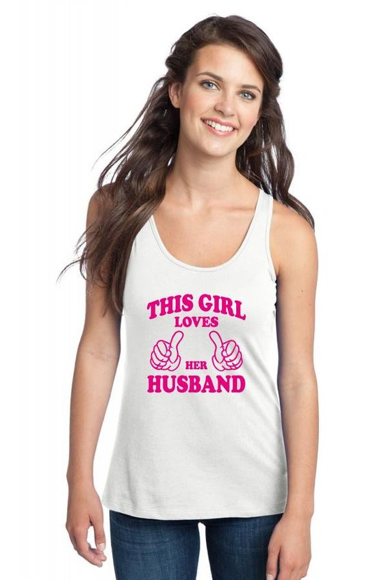 this girl loves her husband pink Racerback Tank