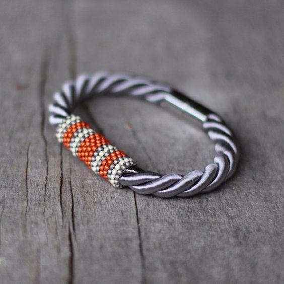 Grau-orange-Seil-Armband Magnetverschluss von Naryajewelry