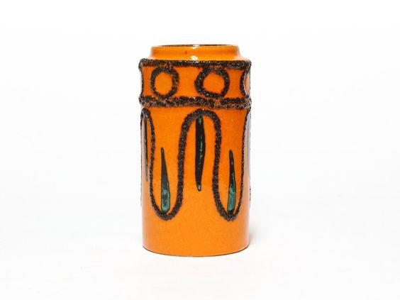 Orange German Lava Vase | Scheurich Ceramic Vase | West Germany Pottery | Fat Lava | model 203-18 by EllaOsix on Etsy