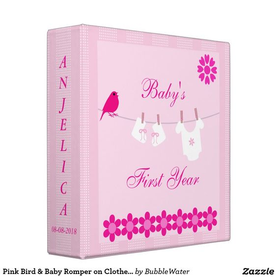 Pink Bird & Baby Romper on Clothesline Photo Album Vinyl Binders
