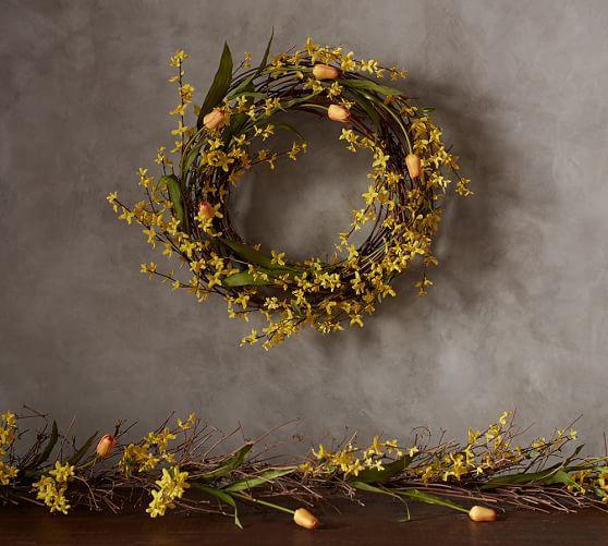 Forsythia & Tulip Wreath and Garland: