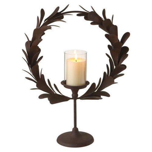 laurel wreath pillar candle holder
