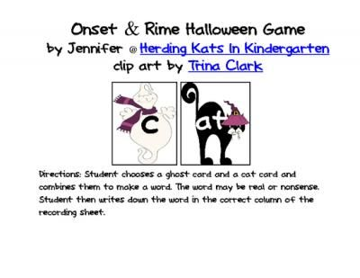 Teacher's Notebook freebie=Onset & Rime Halloween Game from Herding Kats in Kindergarten on TeachersNotebook.com -  (5 pages)  - Onset & Rime Halloween Game