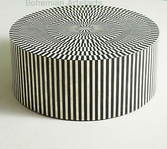 Bone Inlay Striped Design Round Coffee Table Is An Artistic Beauty