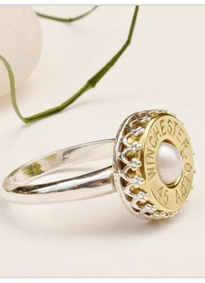 Sterling Silver & Pearl Bullet Ring - like the idea for a good ole Texas girl ;-)