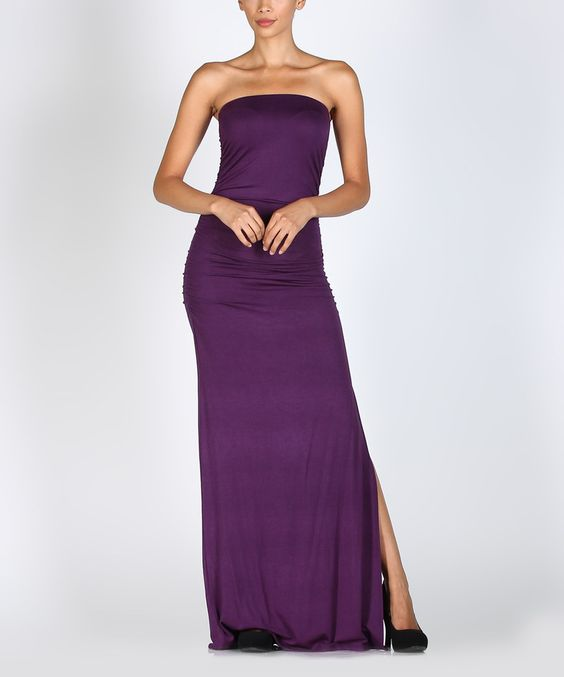 Another great find on #zulily! Eggplant Strapless Maxi Dress by BOLD & BEAUTIFUL #zulilyfinds