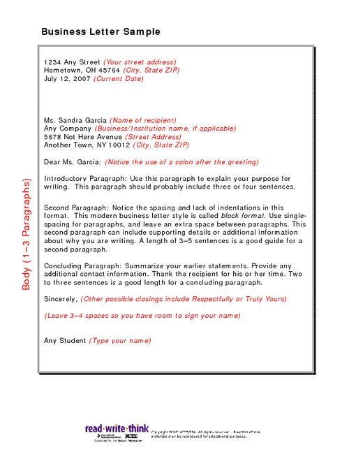 formal business letter format example english model how write - sample business letter format