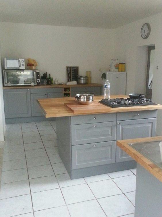 Idees De Carreaux Cuisine Moderne : cuisine ikea gris bois tomettes cuisines cuisines grises cuisine