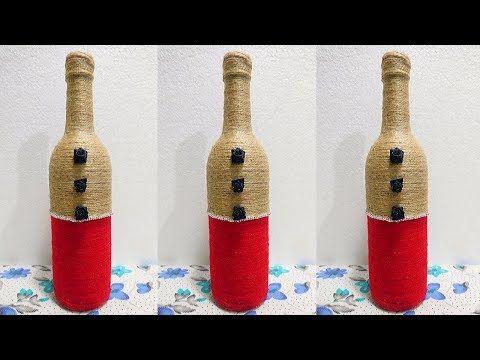 Jute Bottle Craft Bottle Decoration With Jute Thread Wine Bottle Decoration With Jute Youtube Bottles Decoration Wine Bottle Decor Bottle Crafts
