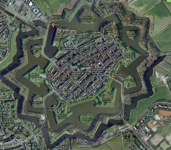 Naarden, Netherlands by richardtulloch.wordpress: Naarden, is a Spanish 'star fort', a walled town with fortified walls and vantage points shaped like arrow heads sticking out into a double ring of moats. #Naarden #Star_Fort #Netherlands #Fort #richardtulloch