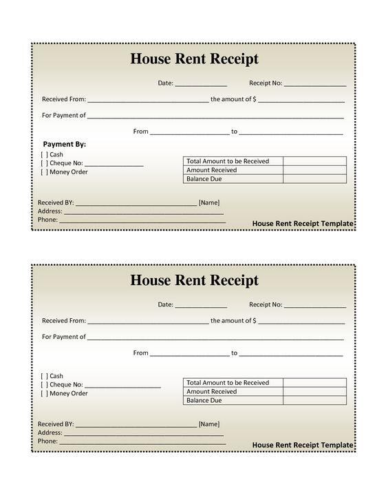 House Rental Invoice Template in Excel Format House Rental - cash cheque receipt format
