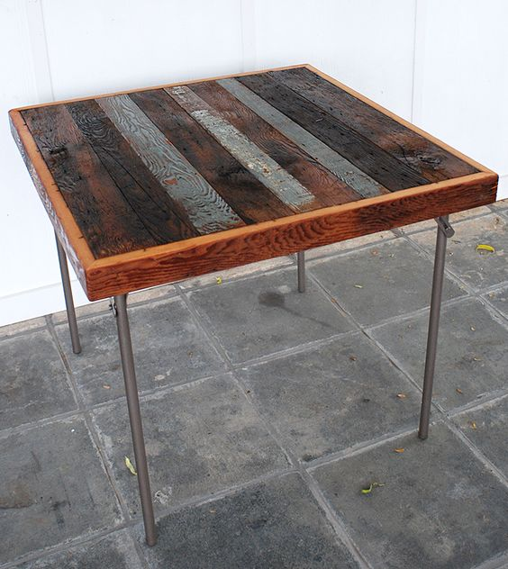 Card Table Makeover with Reclaimed Wood  @The Merrythought
