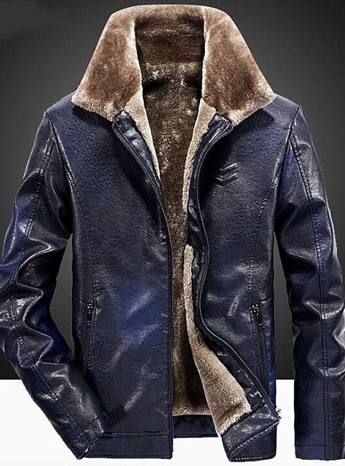 Mens PU Waterproof Leather Jackets Fleece Fur Lined Coats Thick Winter Outwear
