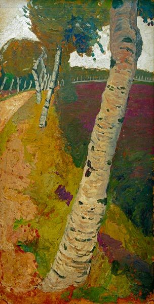 "Paula Modersohn-Becker ""Landstraße mit Birken""; I thought this was an interesting view to paint a tree from. im not a huge fan of the colors used but, in all I found it worthy to pin"