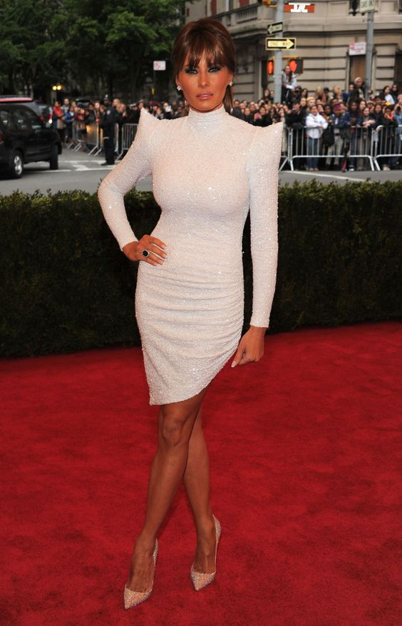 Melania Trump in Marc Bouwer Couture. Fits her just right, now thats a LWD!!