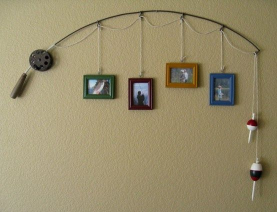 recycled fishing pole - Very cute for boys room, hunting room, brian's office, basement....um not sure who brian is but I love this idea!