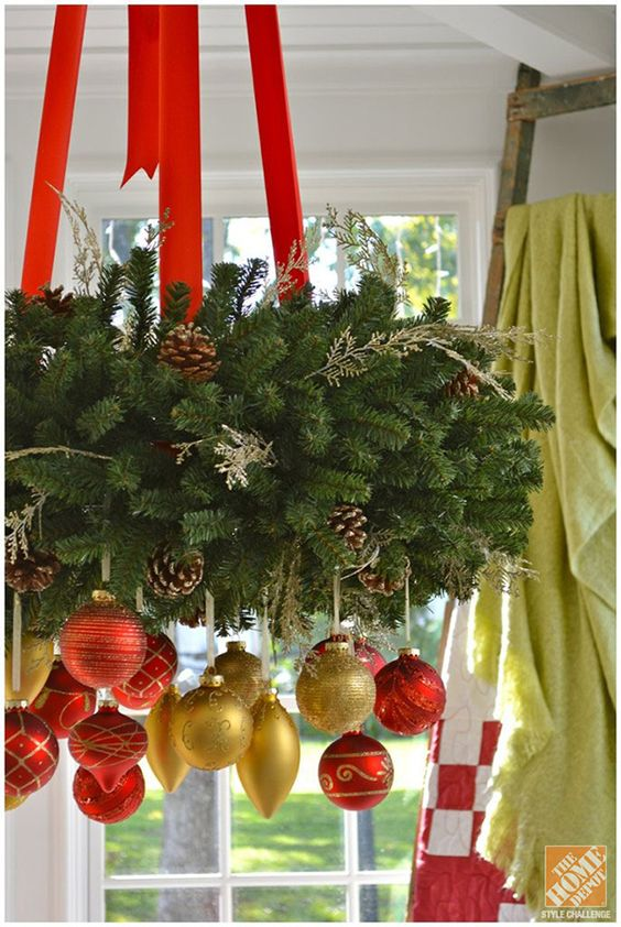 Christmas Decorating Ideas for a Cozy Family Room: Gold and Red Ornaments on a Hanging Wreath