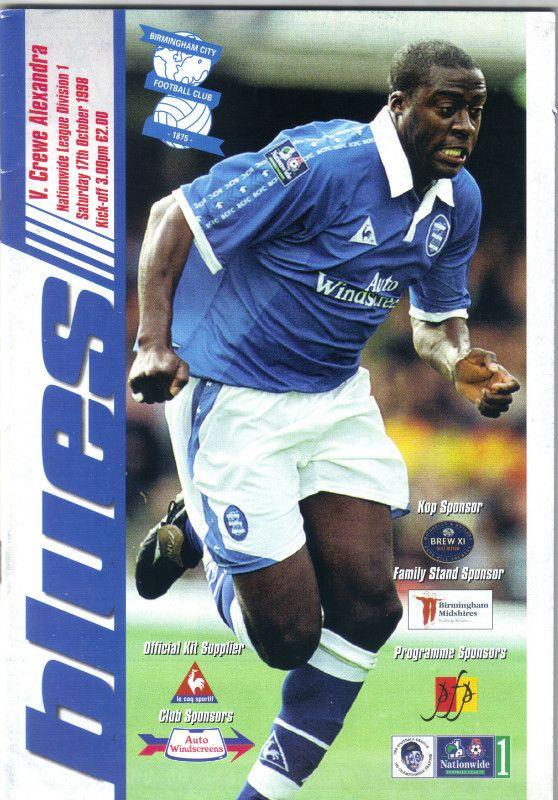 Birmingham City v Crewe Alexandra Football Programme Division 1 17/10/1998