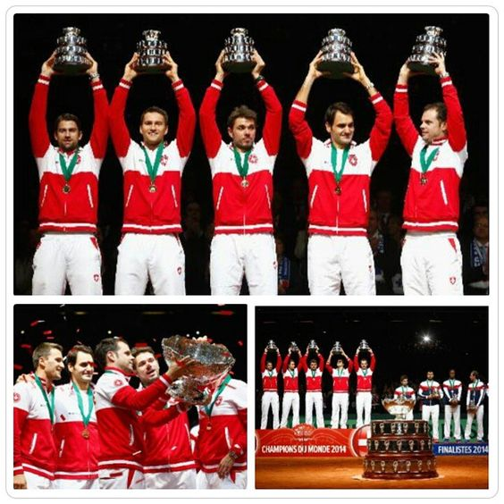 #RogerFederer, #StanislasWawrinka, #MarcoChiudinelli, #MichaelLammer and Captain #SeverinLuthi of Switzerland celebrate winning the #DavisCup against France during day three of the Davis Cup #Tennis Final between France and Switzerland at the Stade Pierre Mauroy on November 23, 2014 in Lille, France. (Photo by Julian Finney/Getty Images)